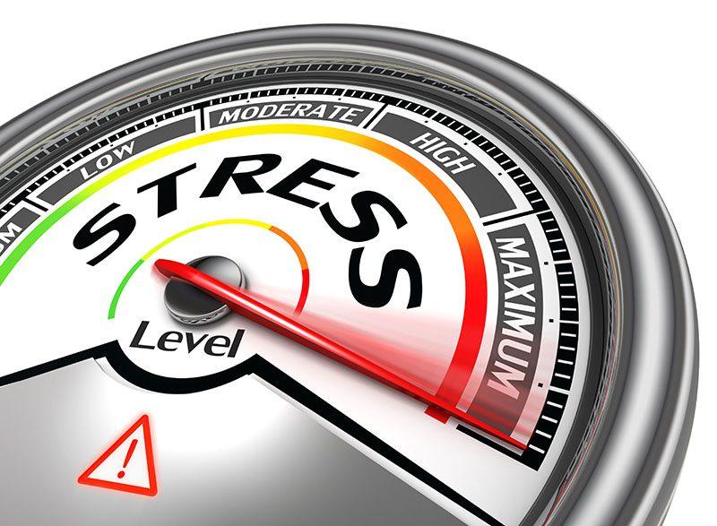 stress level conceptual meter indicating maximum, isolated on white background